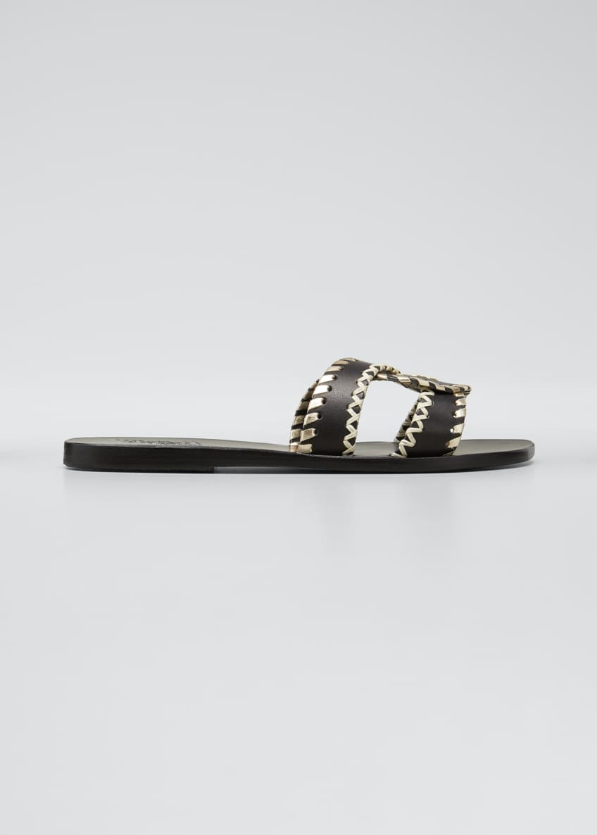 Image 1 of 5: Desmos Stitch Cross Flat Slide Sandals