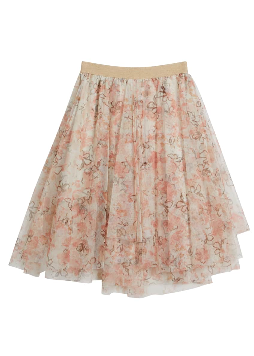 Image 1 of 2: Girl's Floral Printed Tulle Skirt, Size 8-10
