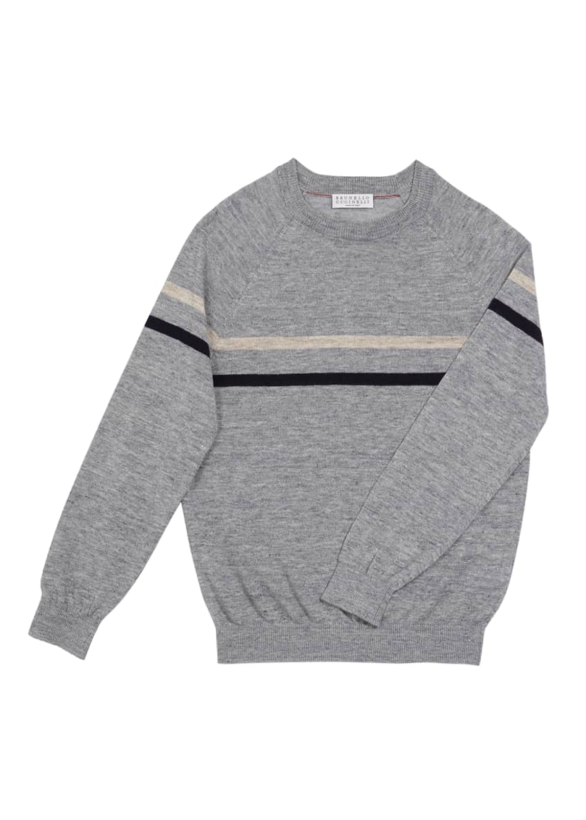 Image 1 of 1: Boy's Italian Linen-Cotton Blend Striped Pullover, Size 8-10