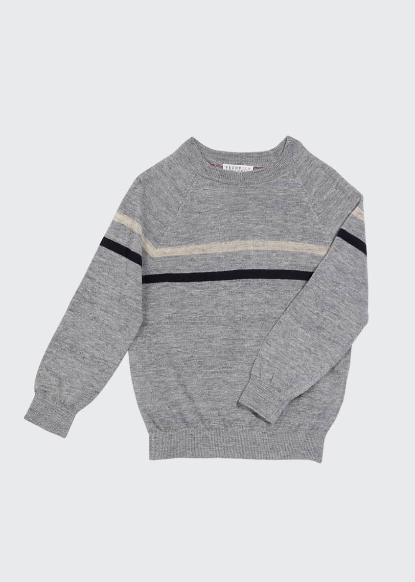 Image 1 of 1: Boy's Italian Linen-Cotton Blend Striped Pullover, Size 4-6