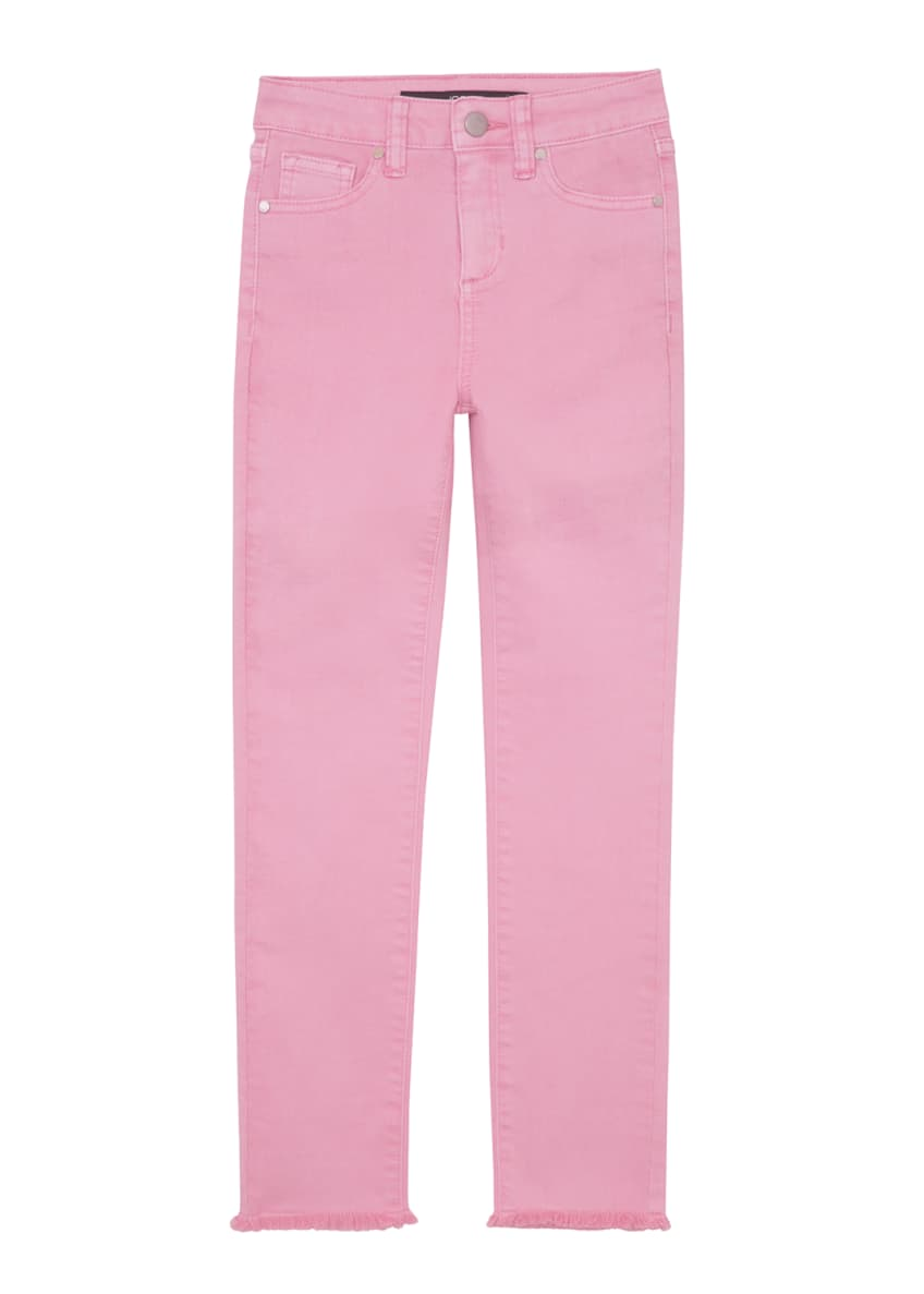 Image 1 of 2: Girl's Neon Dyed Raw-Hem Twill Skinny Jeans, Size 7-16