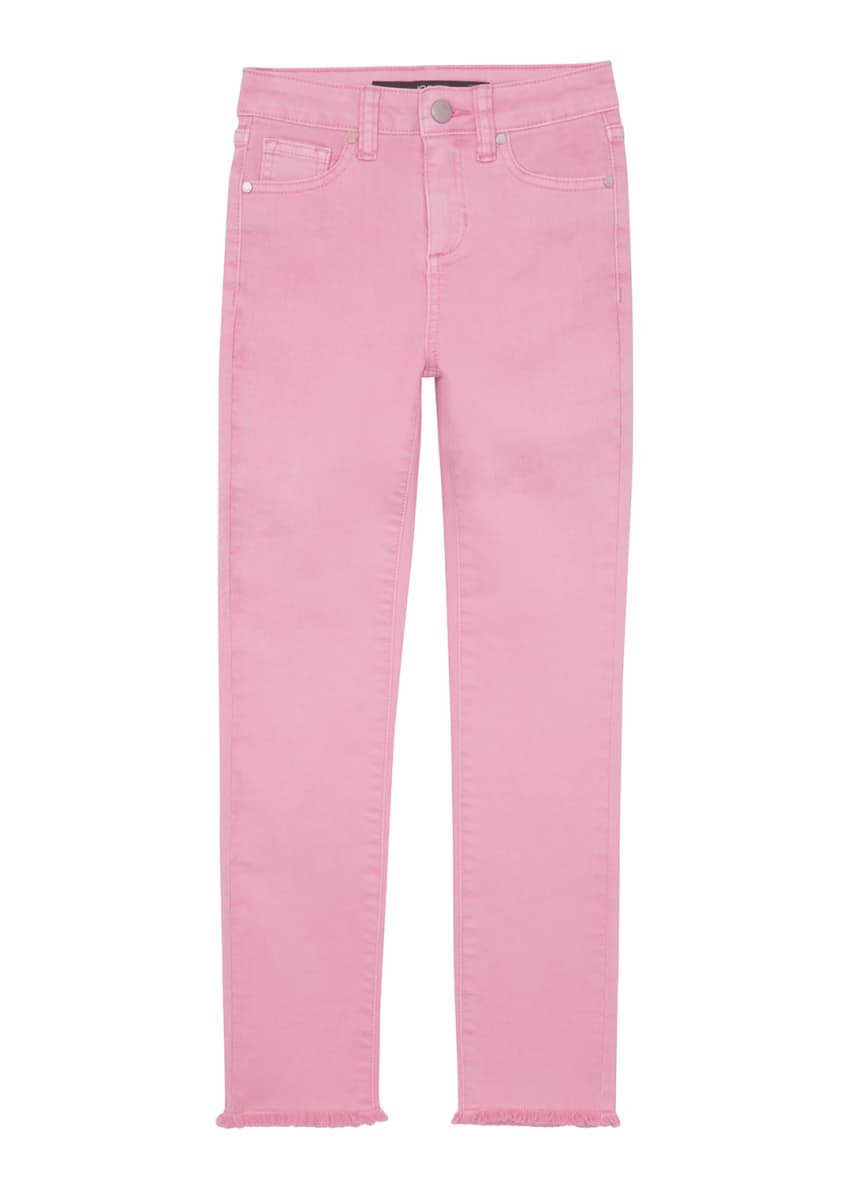 Image 1 of 4: Girl's Neon Dyed Raw-Hem Twill Skinny Jeans, Size 4-6X