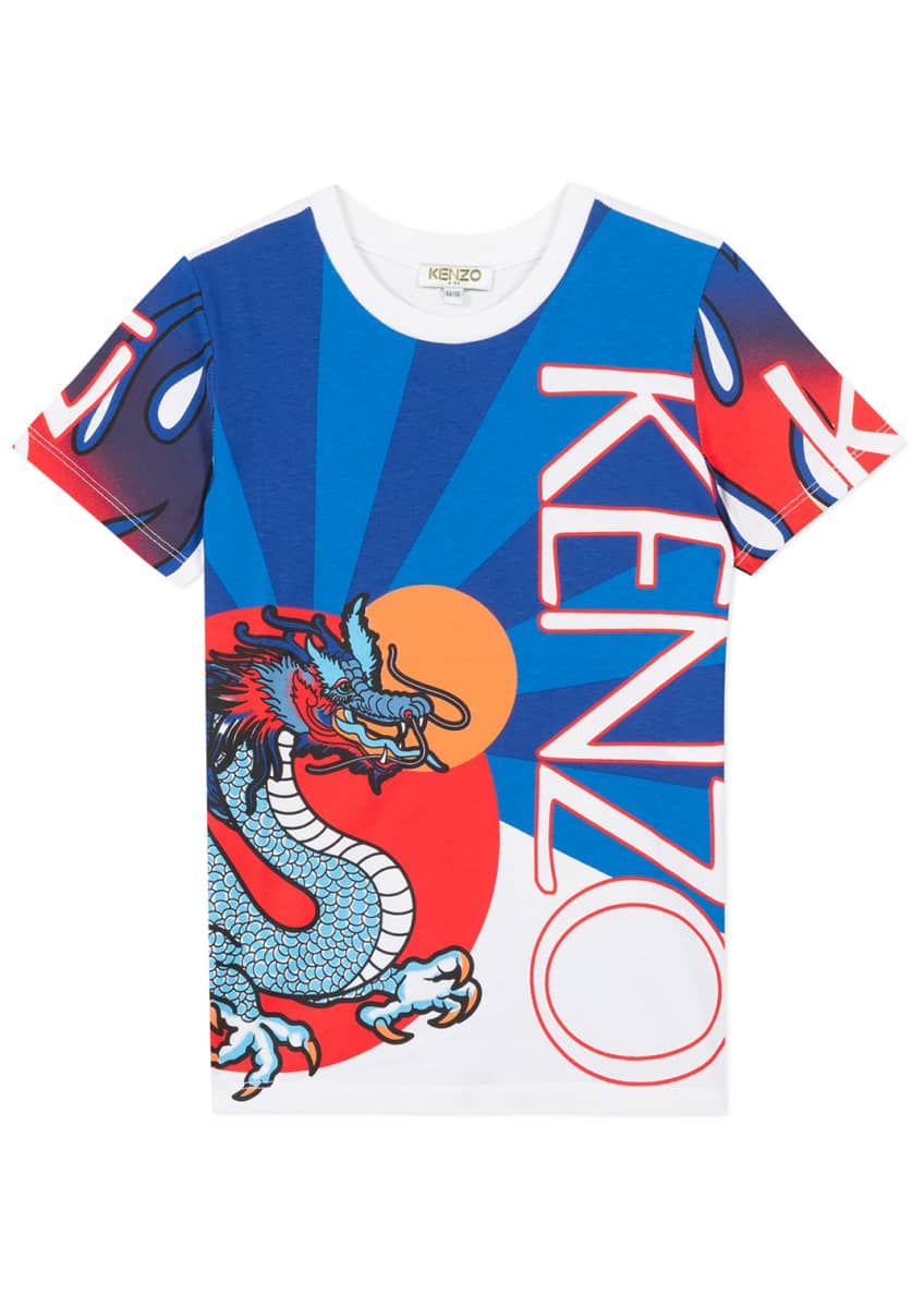 Image 1 of 3: Boy's Dragon Print T-Shirt, Size 8-12
