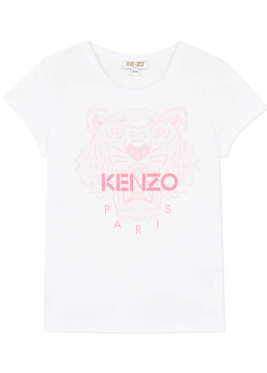 Image 1 of 3: Girl's Tiger Logo Printed T-Shirt, Size 8-12