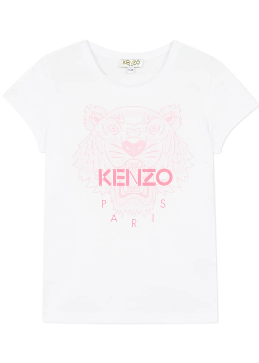Image 1 of 6: Girl's Tiger Logo Printed T-Shirt, Size 2-6