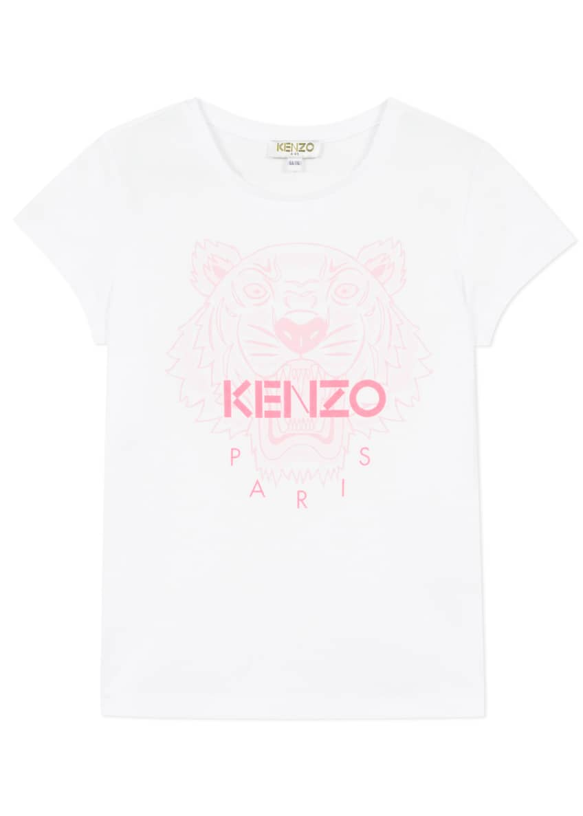 Image 1 of 3: Girl's Tiger Logo Printed T-Shirt, Size 14
