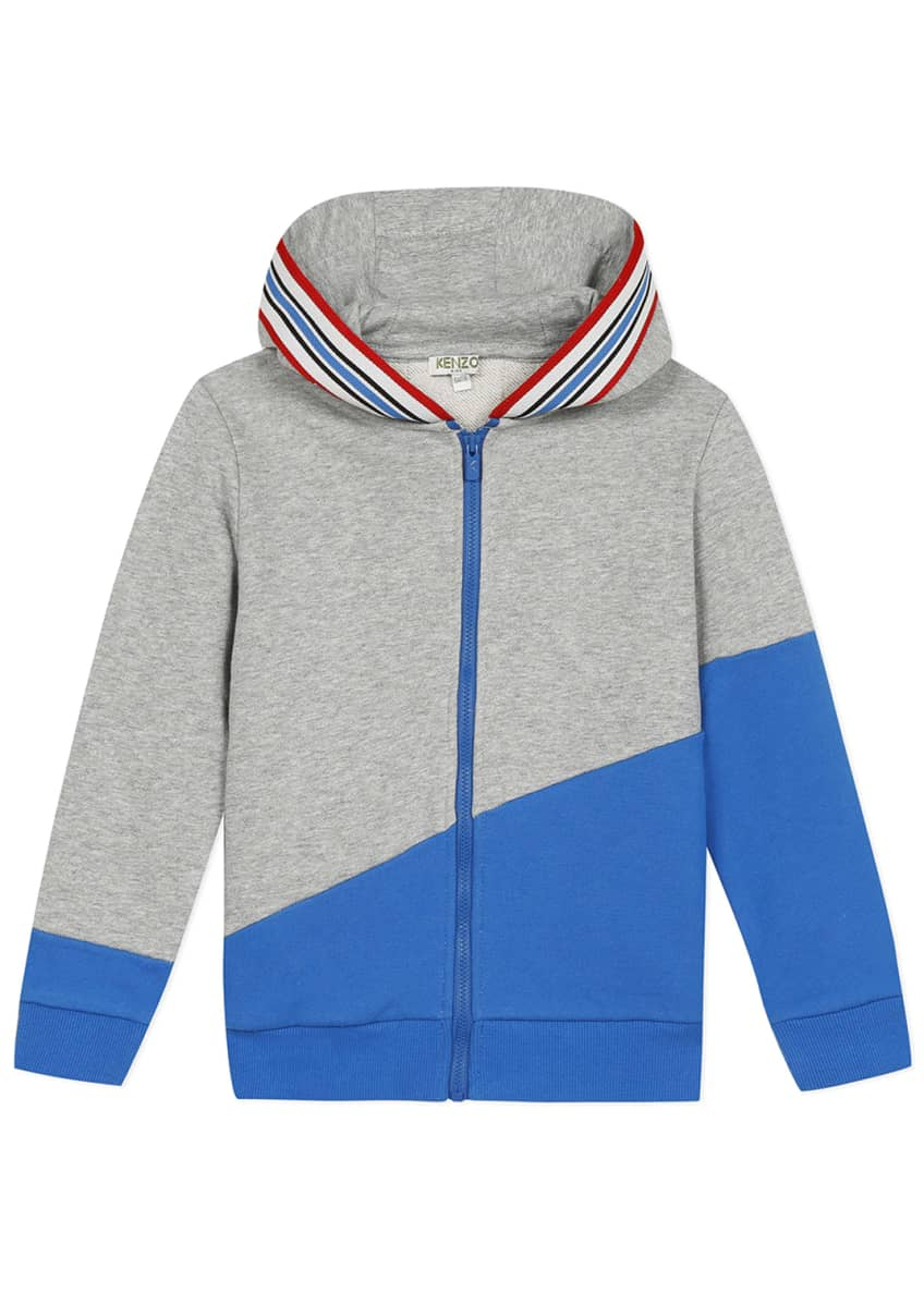 Image 1 of 8: Boy's Logo Tape Zip-Front Fleece Hoodie Jacket, Size 2-6