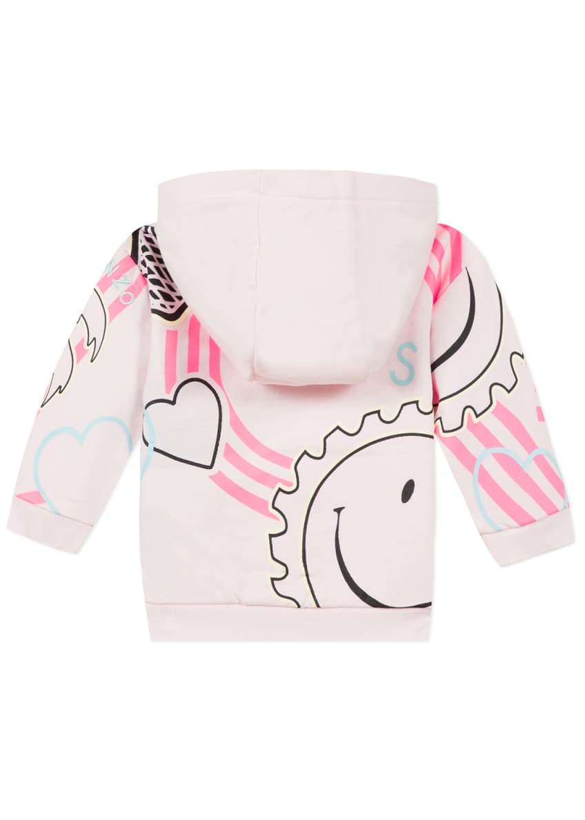 Image 2 of 6: Girl's Multi Icon Graphic Hooded Fleece Jacket, Size 6-18 Months
