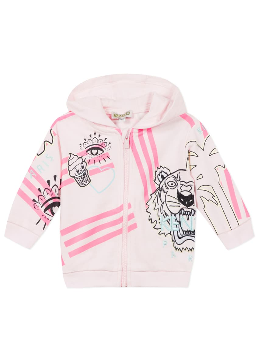 Image 1 of 6: Girl's Multi Icon Graphic Hooded Fleece Jacket, Size 6-18 Months