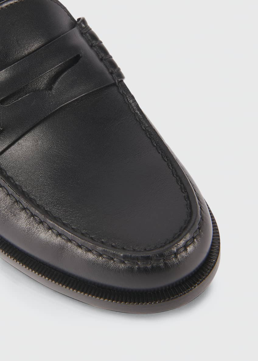 Image 3 of 3: Pierre Leather Penny Loafers