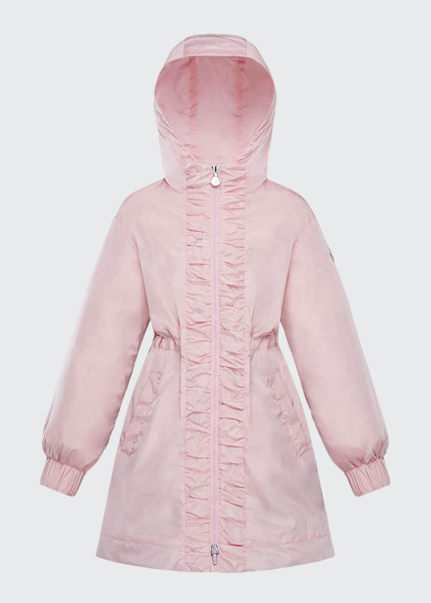 Image 1 of 4: Girl's Lika Ruched Trim Long Coat, Size 4-6