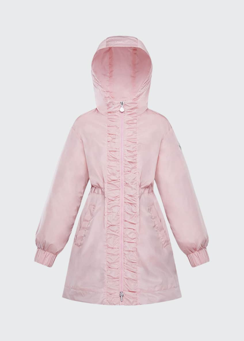 Image 1 of 2: Girl's Lika Ruched Trim Long Coat, Size 8-14