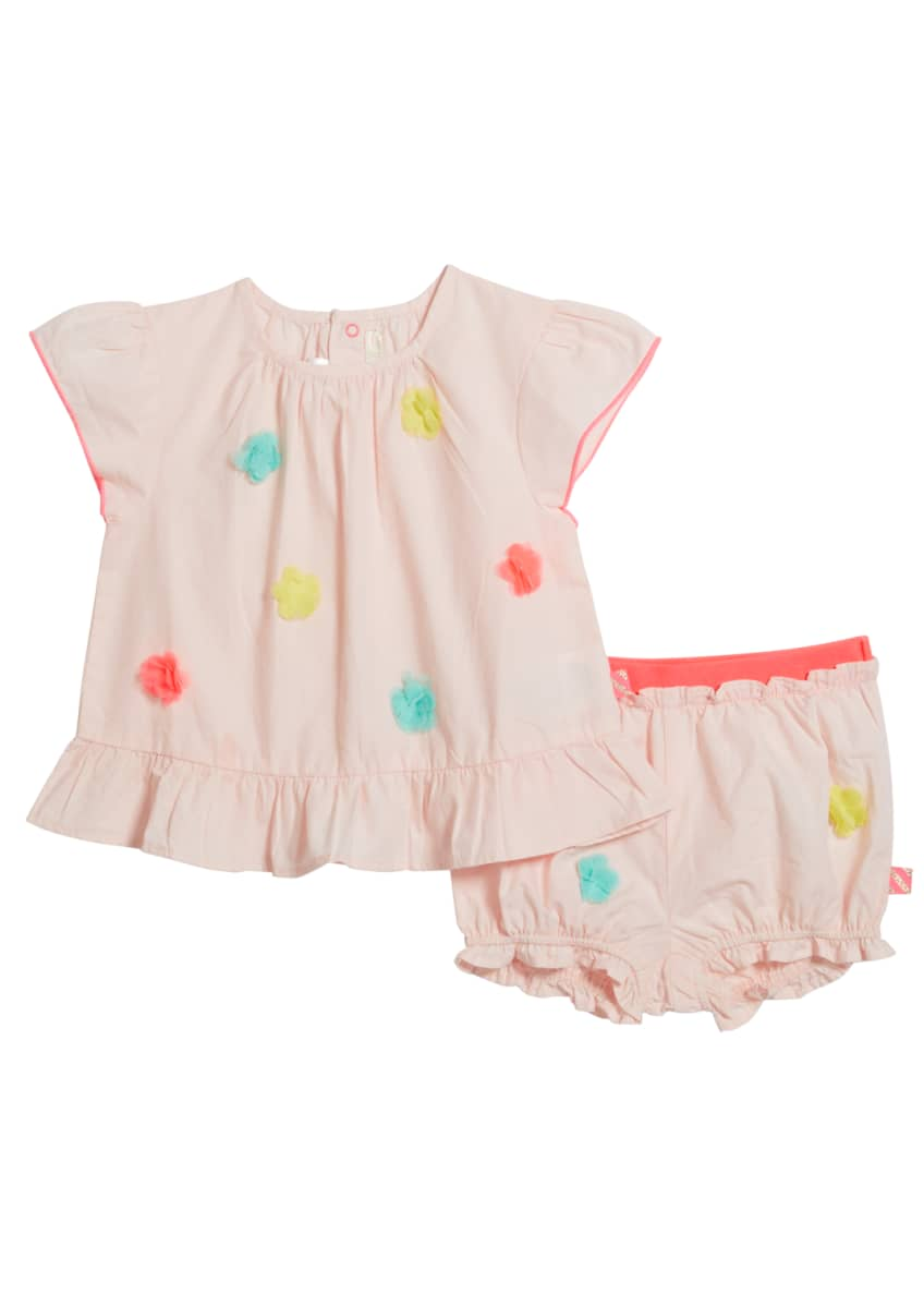 Image 1 of 1: Girl's Pompom Blouse w/ Matching Bloomers, Size 2-3