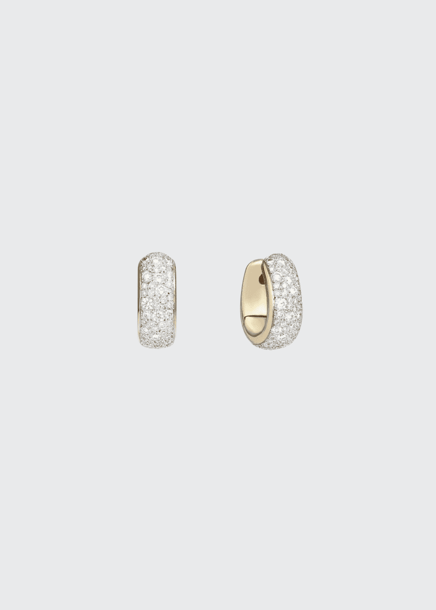 Image 1 of 1: Iconica 18k Rose Gold Diamond Huggie Earrings