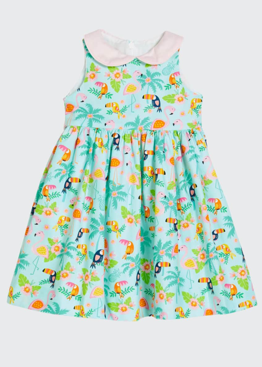 Image 1 of 2: Girl's Flamingo Dress with Collar, Size 4-6X