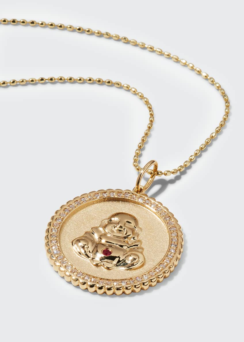 Image 3 of 3: 14k Buddha Coin Pendant Necklace with Diamonds