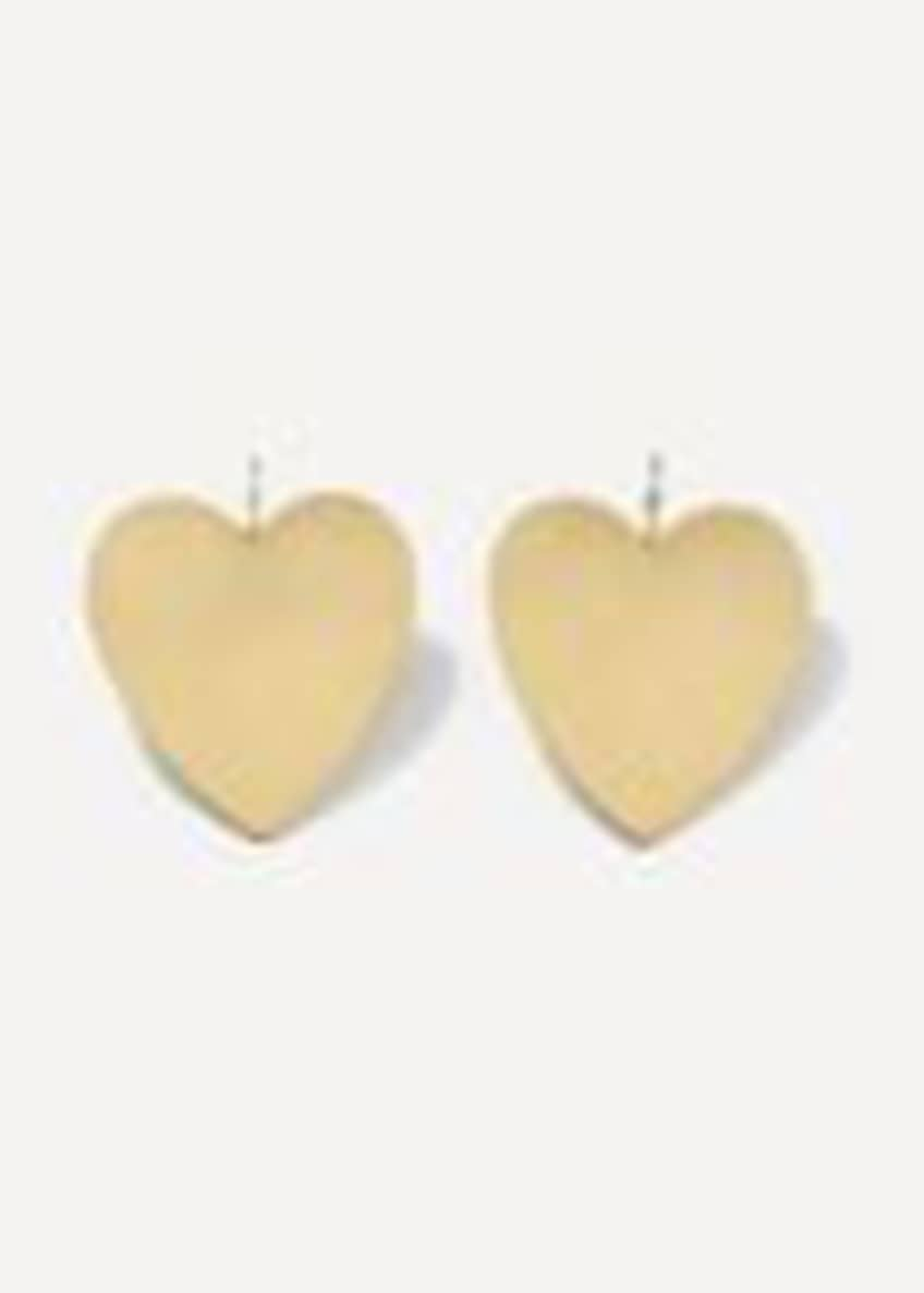 18k Yellow Gold Large Heart Earrings