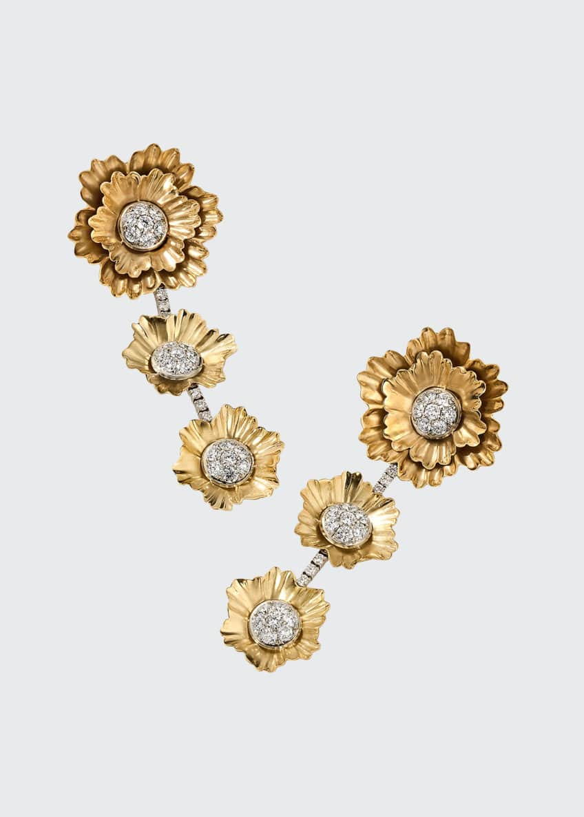 Image 1 of 1: 18k Yellow Gold and White Gold 3-Flower Drop Earrings