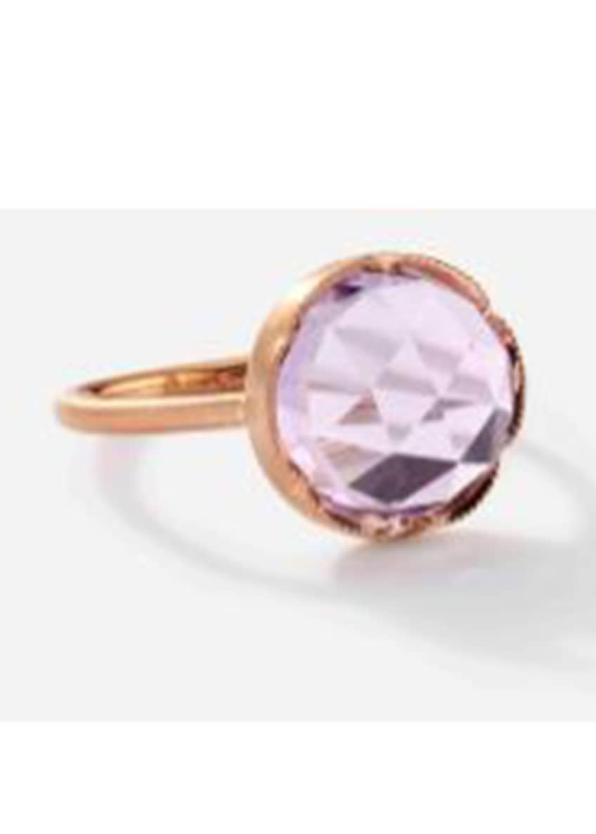 Image 1 of 1: 18k Rose Gold Ring Set W 11mm Rose