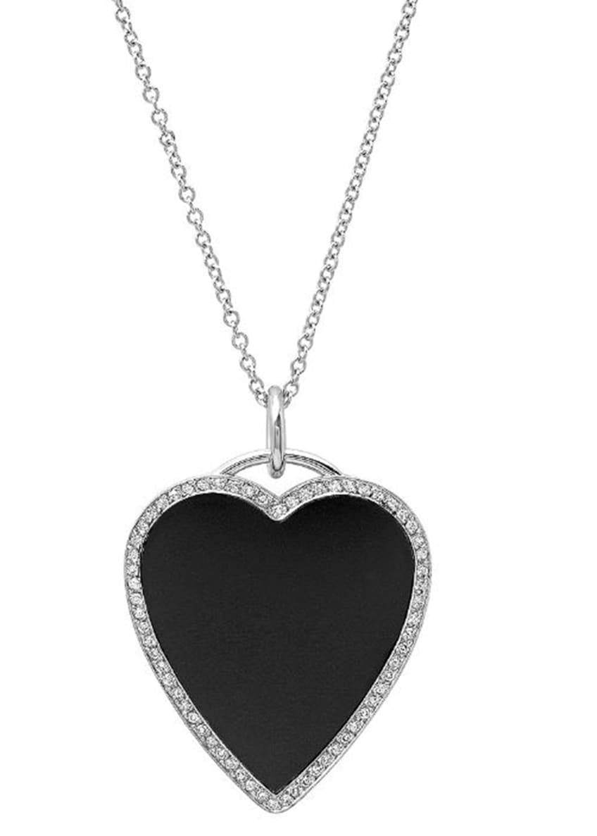 Image 1 of 1: 18k White Gold Onyx Heart Necklace with Diamonds