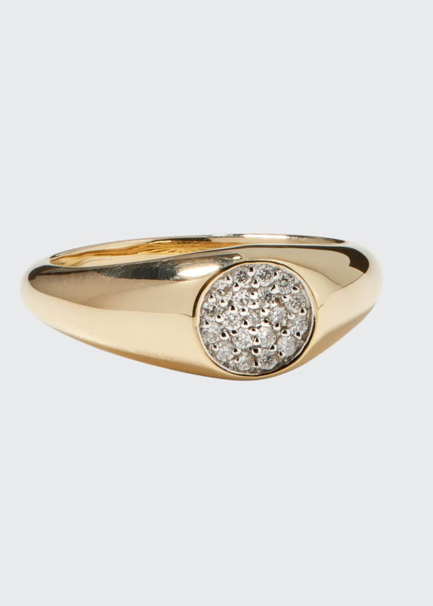 Image 1 of 1: 14k Round Diamond Signet Pinky Ring, Size 4 and 6.5