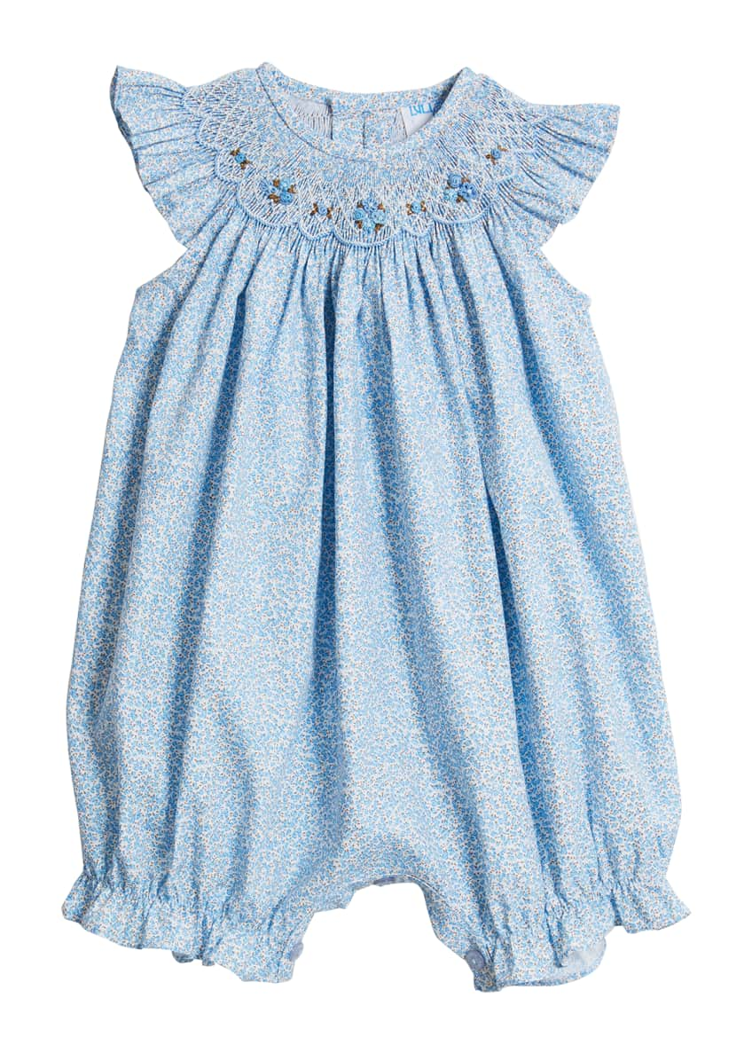 Image 1 of 2: Blue Floral Smocked Bubble Romper, Size 3-24 Months
