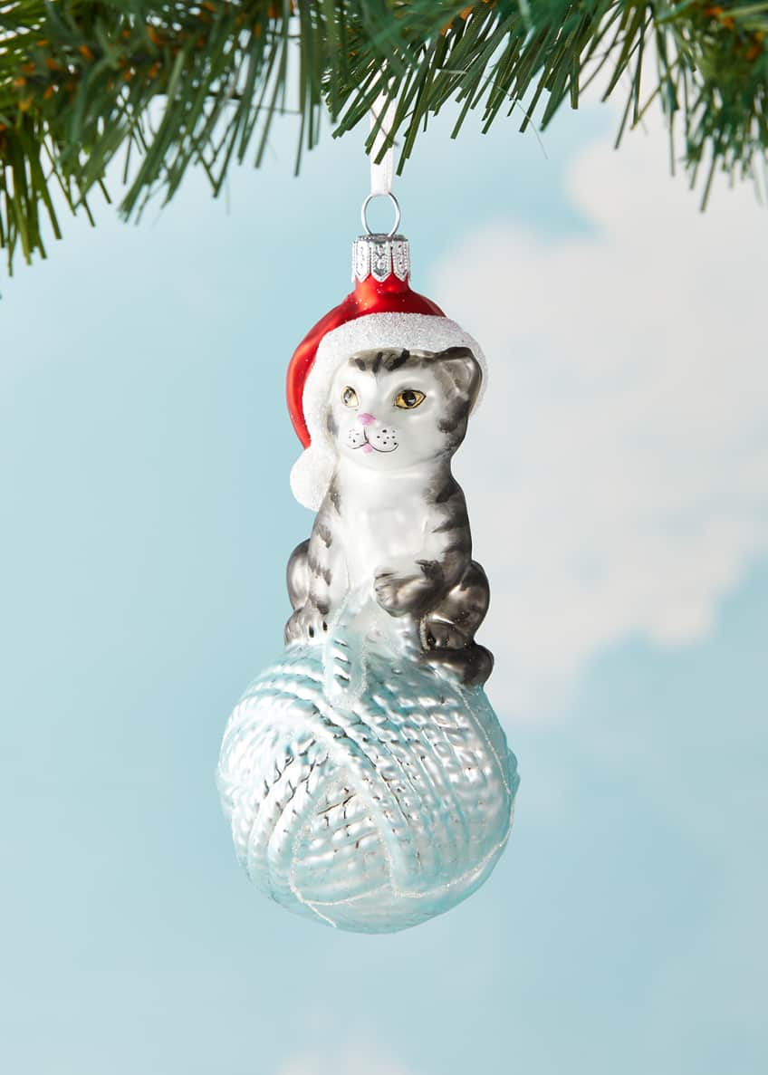 Image 1 of 2: Cat On Yarn Christmas Ornament