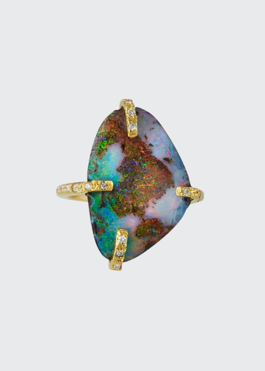 Armenta Sueno 18k Boulder Opal Ring with Diamonds,