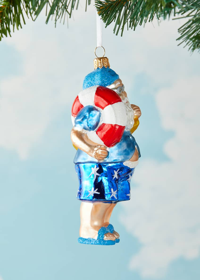 Image 2 of 3: Swim Santa Christmas Ornament