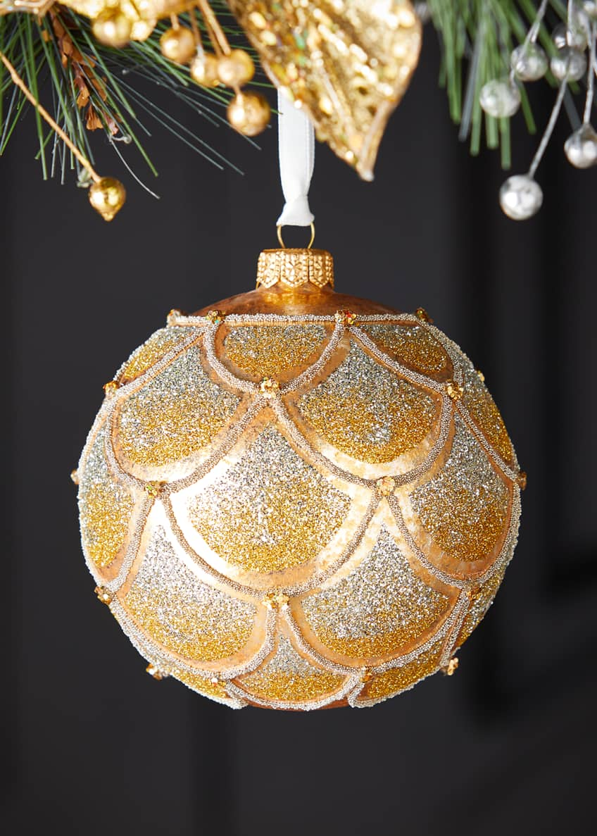 Image 1 of 1: Scallop Ombre Ball Christmas Ornament