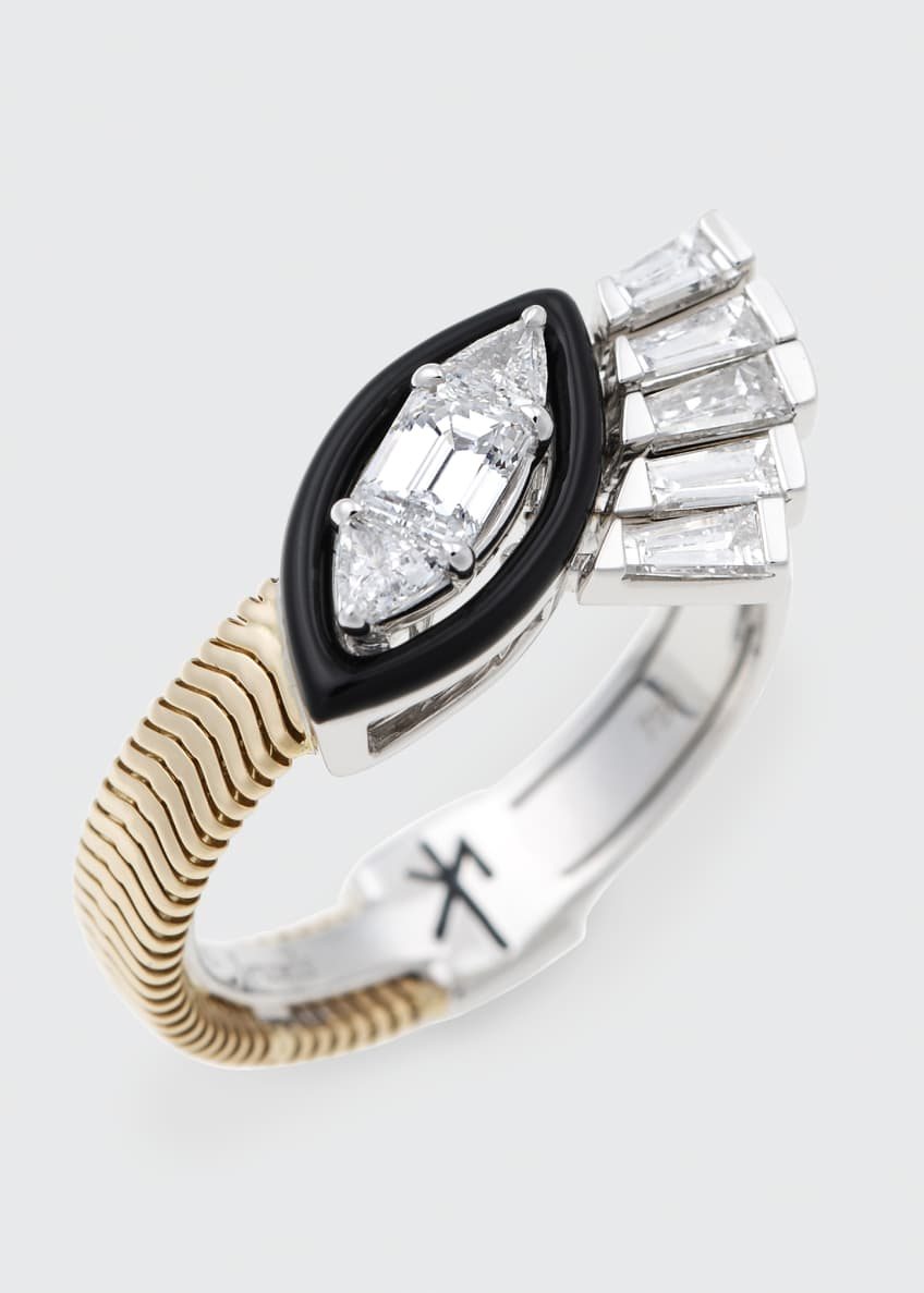 Image 2 of 2: Feelings Tapered, Trillion, And Emerald Cut Diamond Ring w/ Black Enamel 18K Gold White Gold 0.90Tcw Diamond