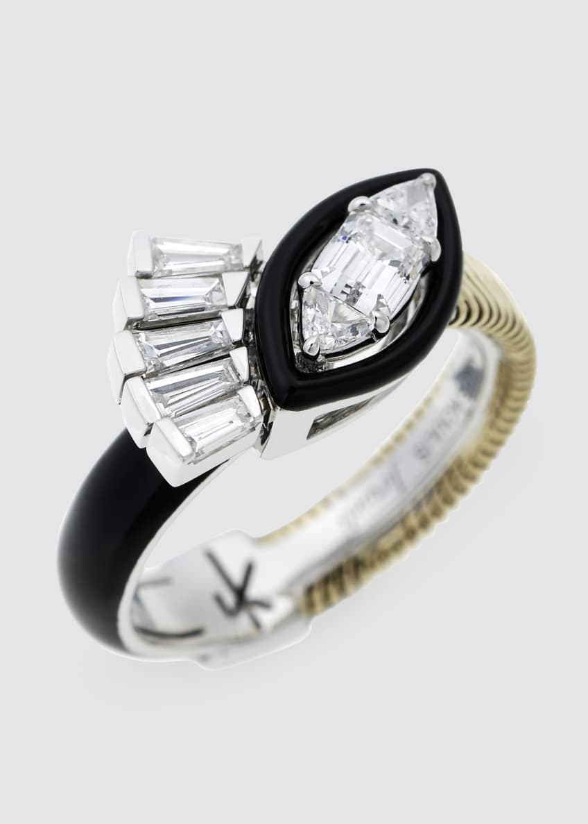 Image 1 of 2: Feelings Tapered, Trillion, And Emerald Cut Diamond Ring w/ Black Enamel 18K Gold White Gold 0.90Tcw Diamond