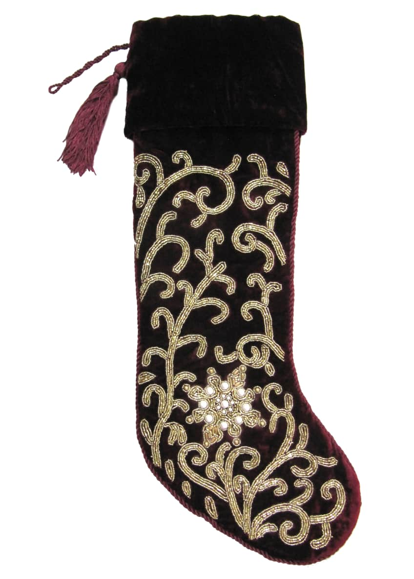 Image 1 of 1: Burgundy Beaded Stocking, Personalized