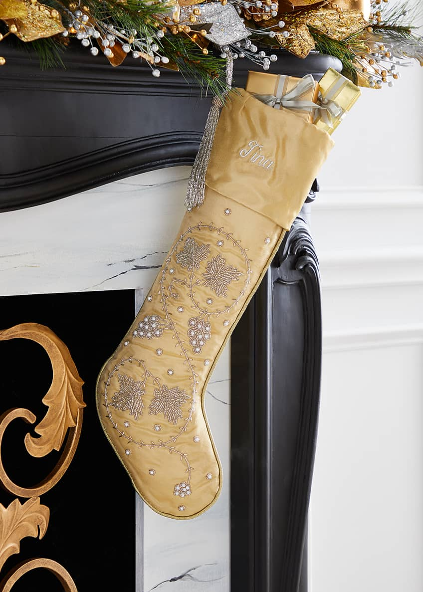 Image 1 of 1: Silver Leaves on Gold Stocking, Personalized