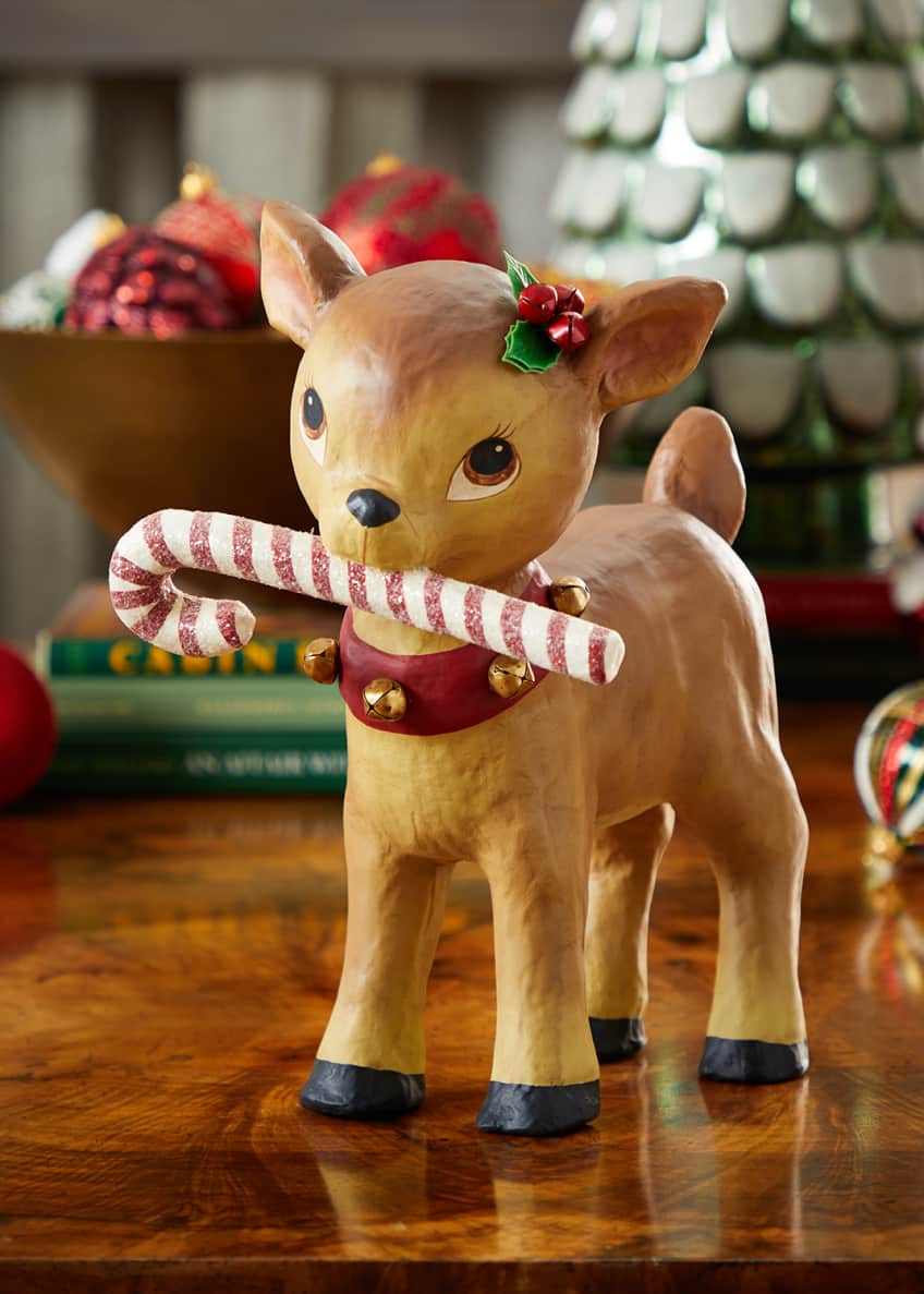 Image 1 of 1: Retro Reindeer with Candy Cane