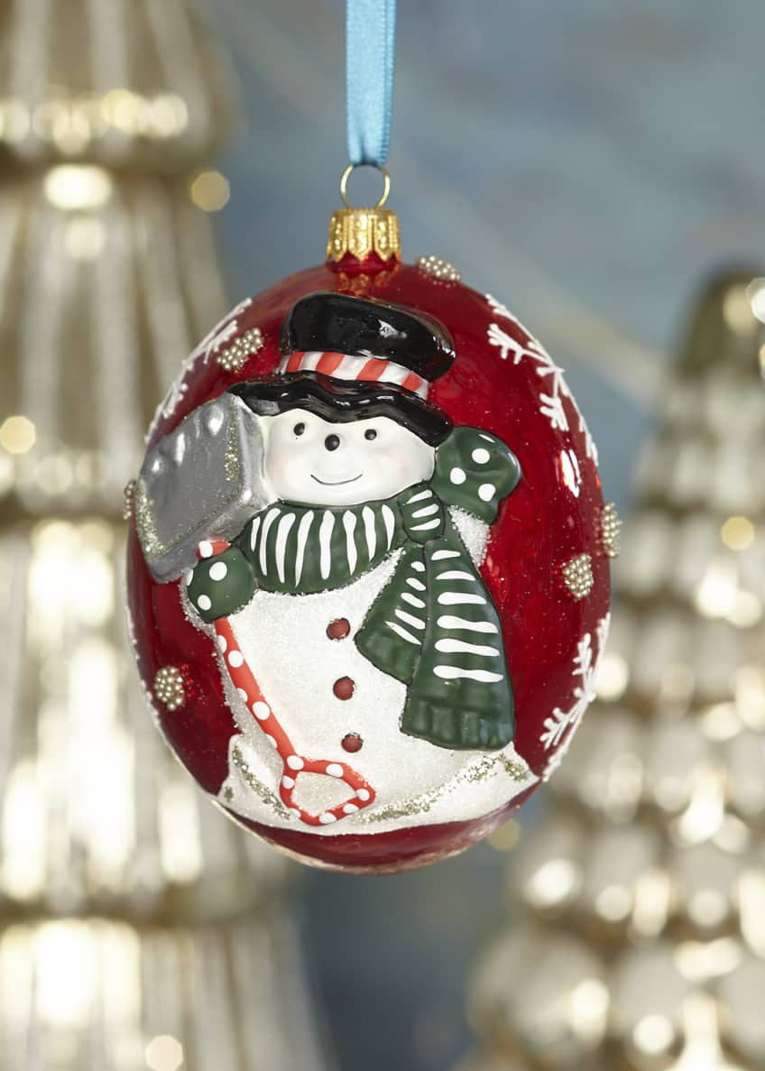 Image 1 of 1: Jingle Balls Snowman with Shovel Ornament