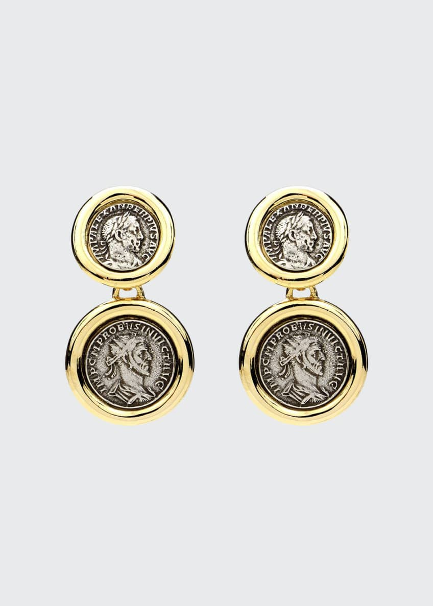 Image 1 of 1: Roman 2-Coin Clip Earrings