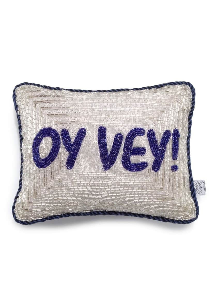 Image 1 of 1: 'Oy Vey!' Hanukkah Decorative Pillow