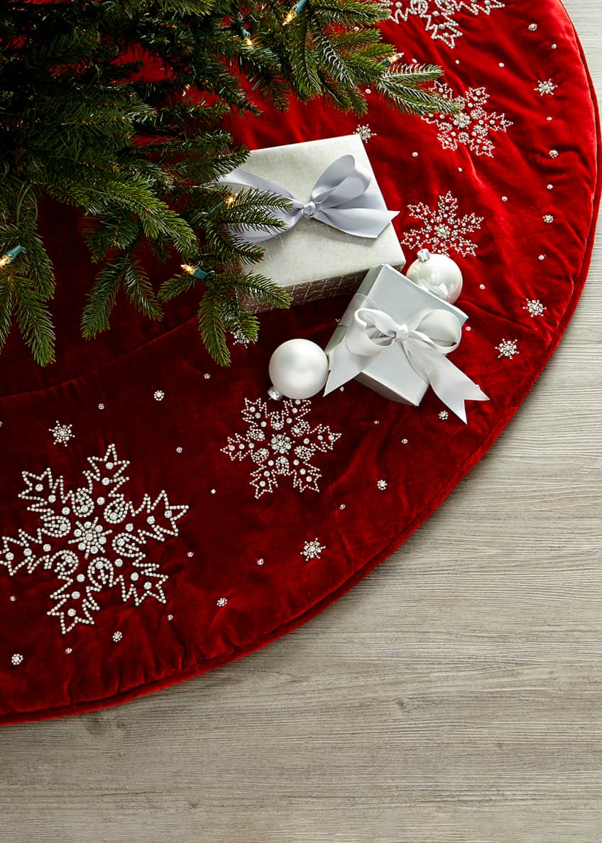 Image 1 of 1: Velvet Snowflake Tree Skirt