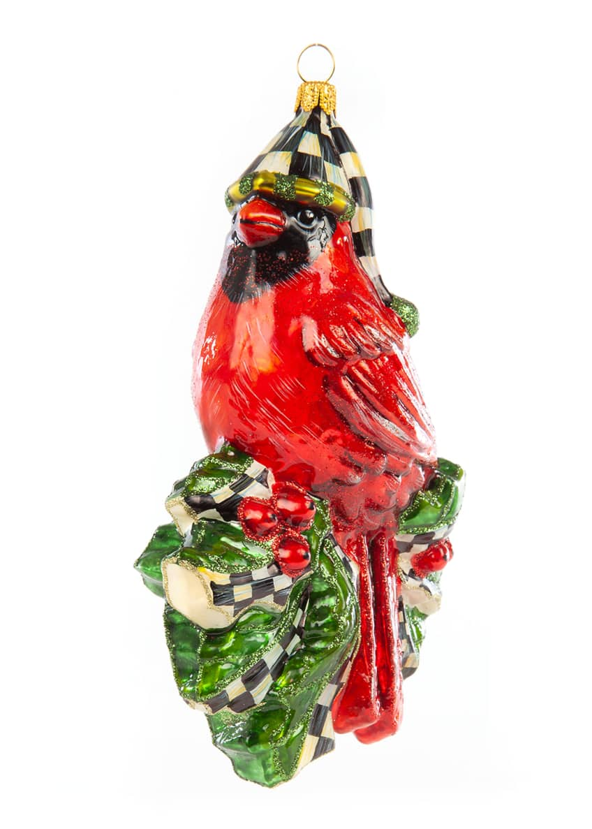 Image 1 of 1: Glass Ornament Night Cap Cardinal