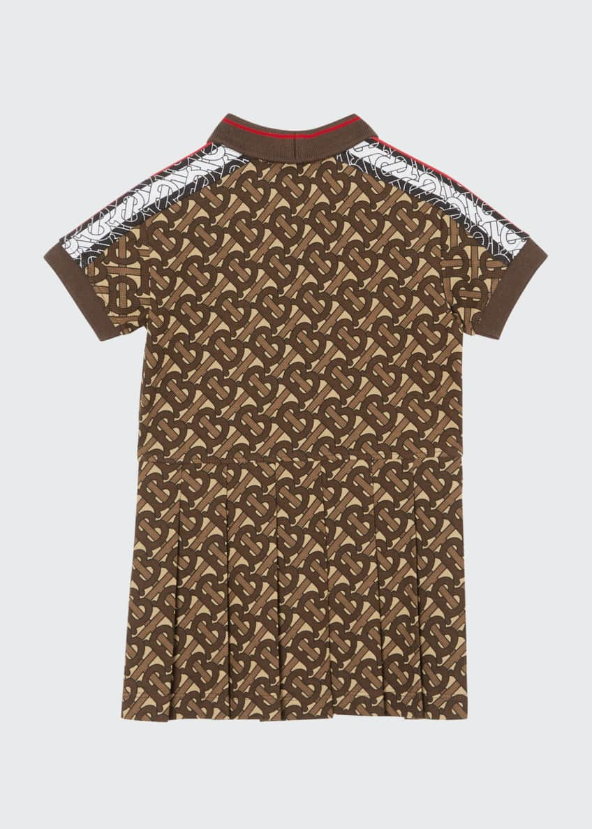 Image 2 of 6: Girl's Kayleigh Pleated TB-Monogram Dress, 12M-2