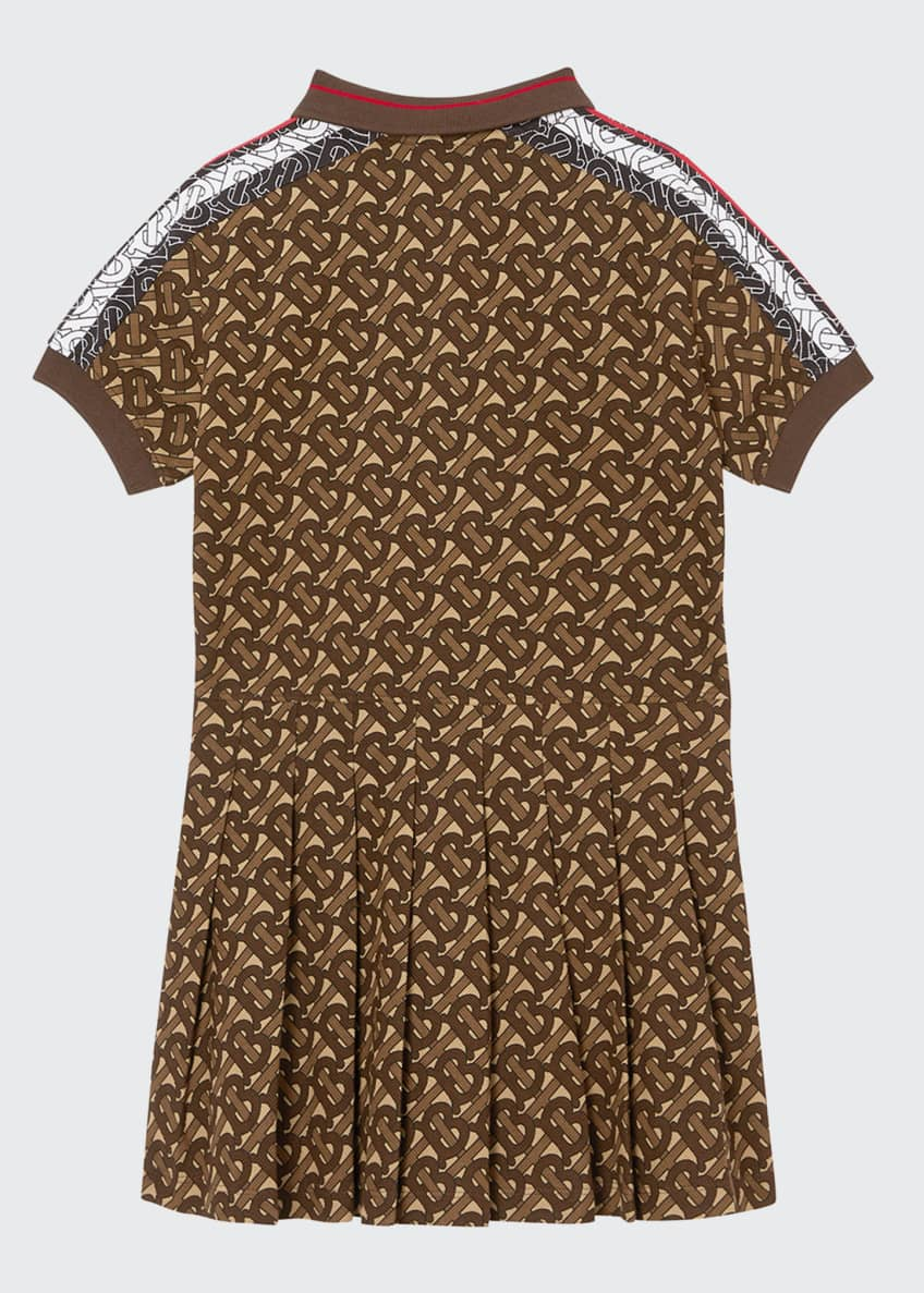 Image 2 of 2: Girl's Kayleigh Pleated TB-Monogram Dress, Size 3-12