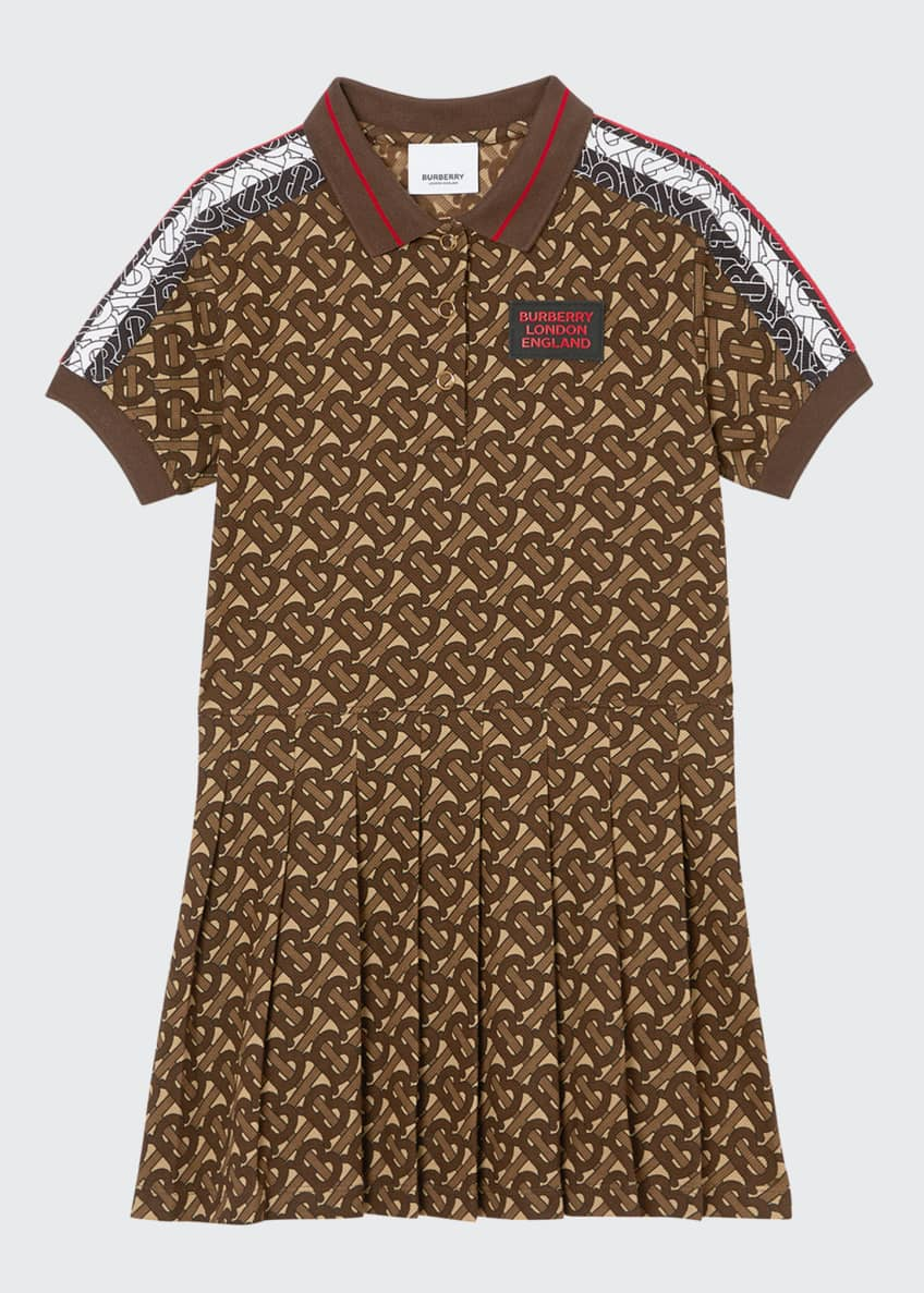 Image 1 of 2: Girl's Kayleigh Pleated TB-Monogram Dress, Size 3-12