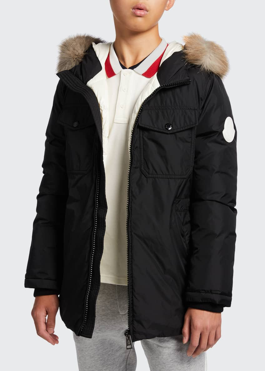 Image 2 of 10: Menue Long Hooded Parka w/ Fur Trim, Size 8-14