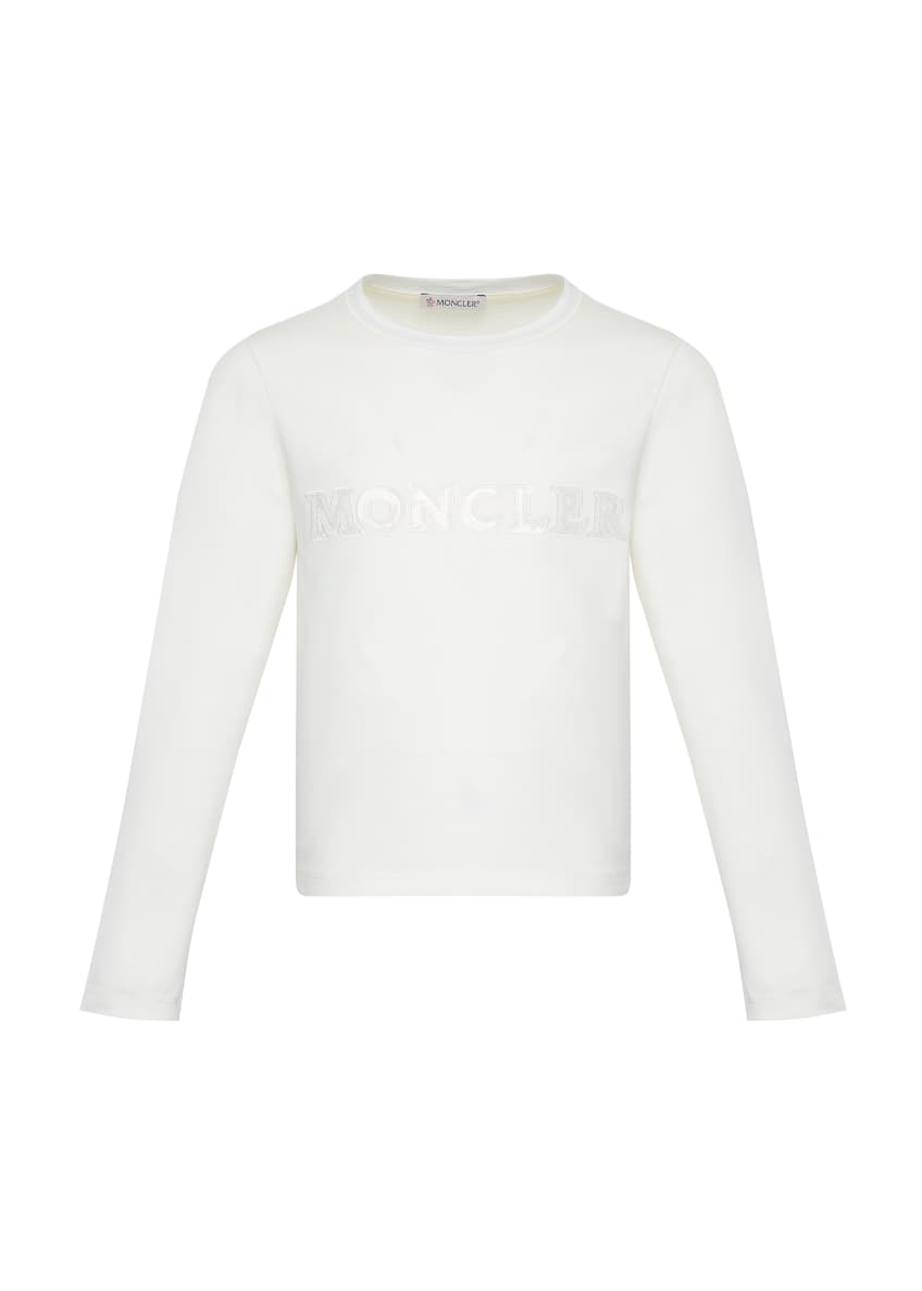 Image 1 of 2: Girl's Long-Sleeve Block Logo T-Shirt, Size 4-6