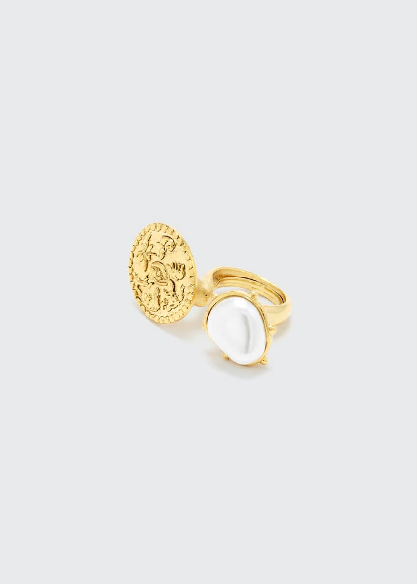 Image 1 of 1: Coin and Pearly Between-the-Finger Ring
