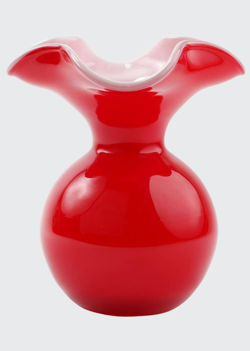 Image 1 of 1: Hibiscus Glass Red Small Fluted Vase