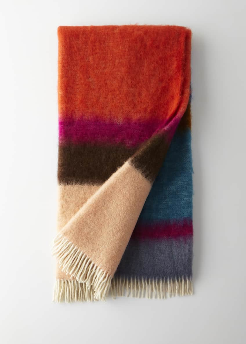 Image 1 of 1: Matisse Mohair Throw, Blue Pattern