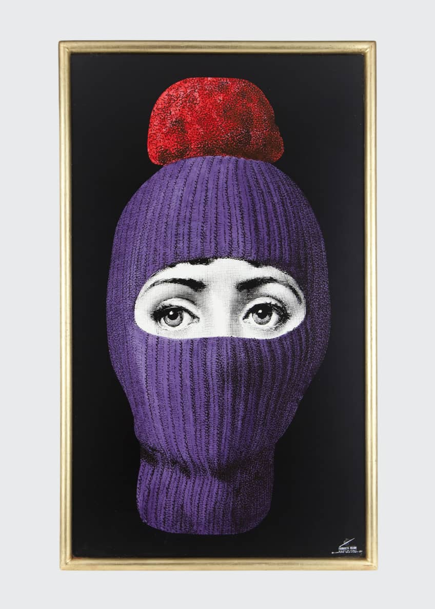 Image 1 of 1: Panel Lux Gstaad Purple Balaclava With Red Pom Pom