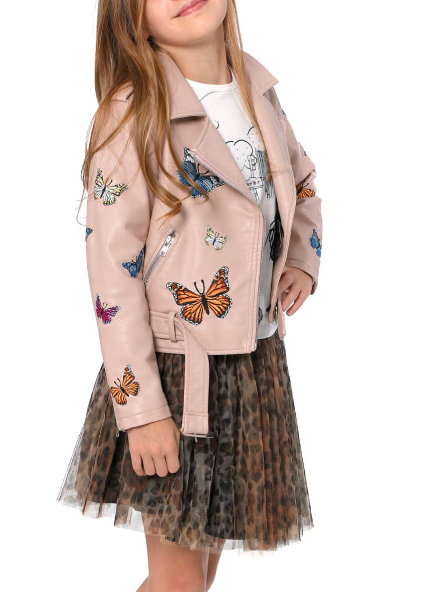Image 2 of 3: Girl's Vegan Leather Butterfly Moto Jacket, Size 7-14